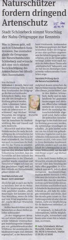 Volksstimme Schönebeck vom 15. November 2011