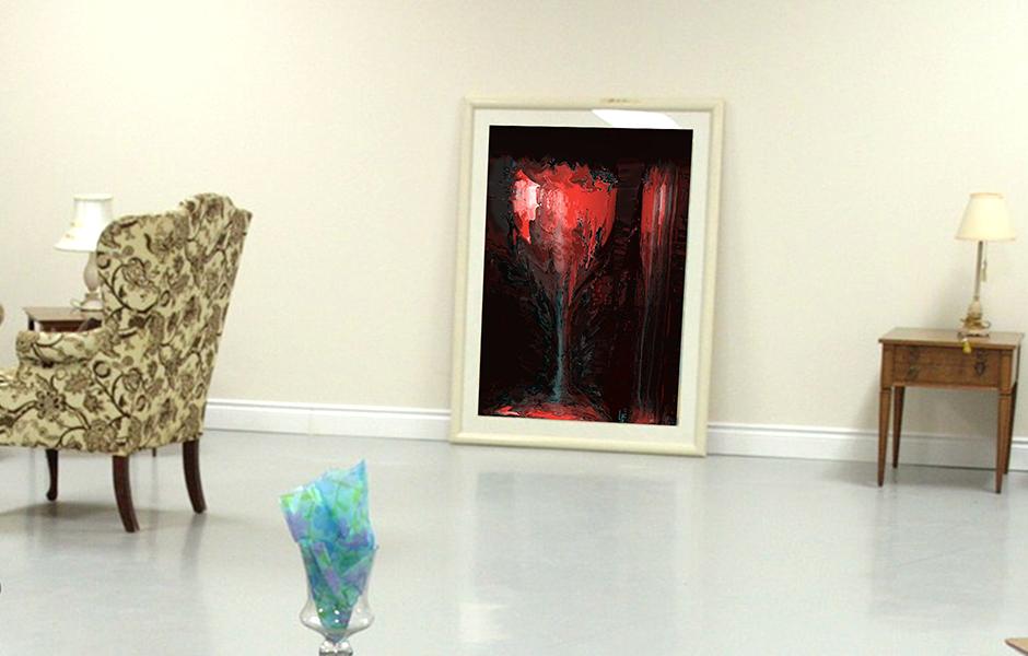 Wohnbeispiel, Kunstwerk: Feuerglas