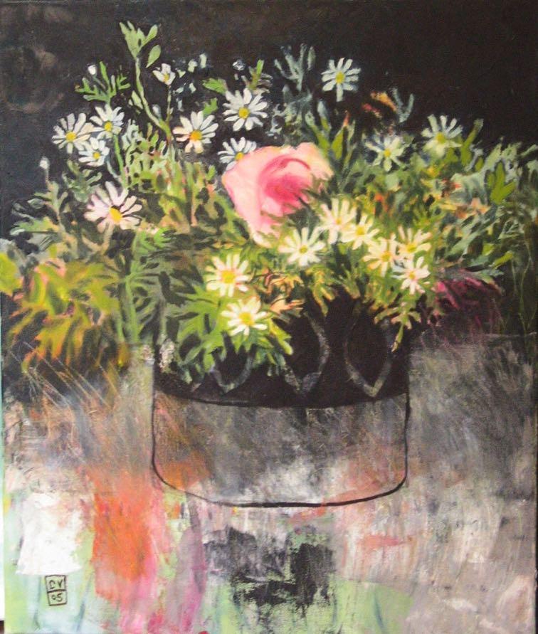 Bouquet, fond noir - 2005  50X60 cm