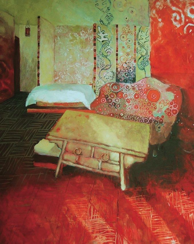 Salon rouge -2002  100X100 cm