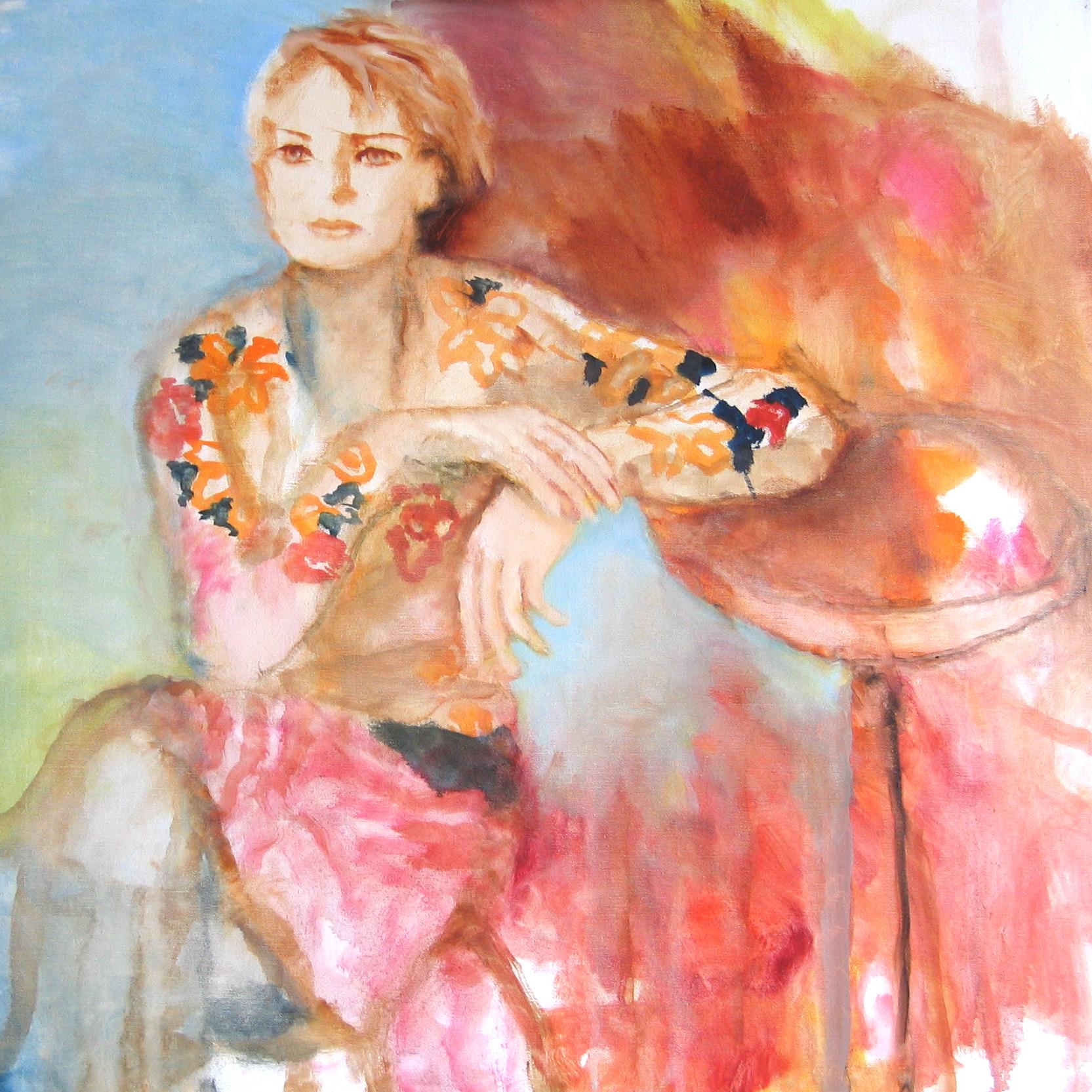 Sophie accoudée - 2008 - 80 x 80 cm