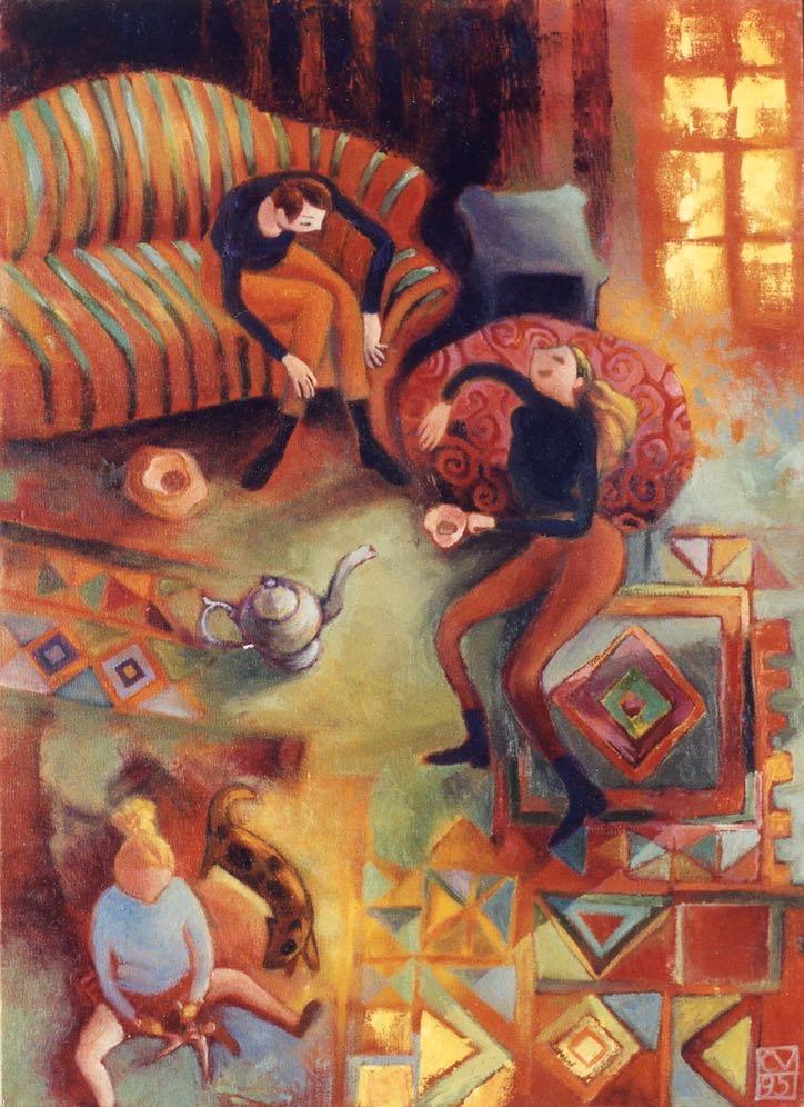 thé entre amies - 1995  50X60 cm