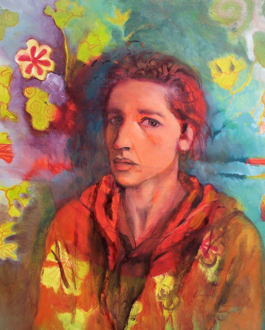 Autoportrait turquoise - 2004 -50 x 50 cm