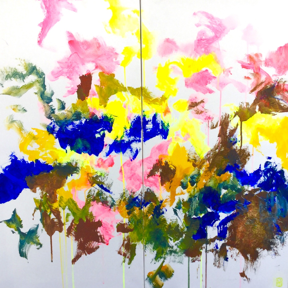 Diptyque rose jaune et bleu -2019-2x40x80 cm