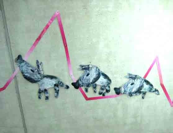 Drei Wildschweine - erdverbunden; je ca. 50 cm; laminierter Inkjet-Druck