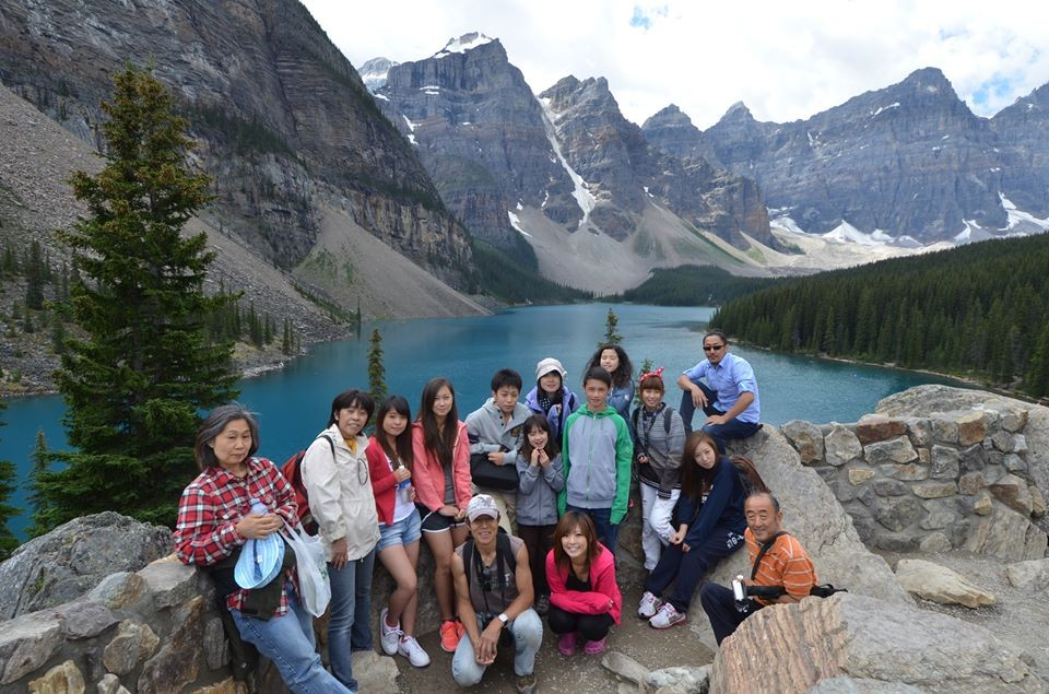 With Pastor Akedo (orange shirt) @Moraine Lake