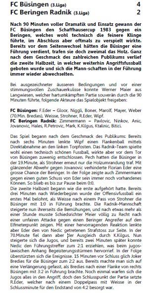 Matchbericht der Schaffhauser Nachrichten zum Cupsieg 1982/83
