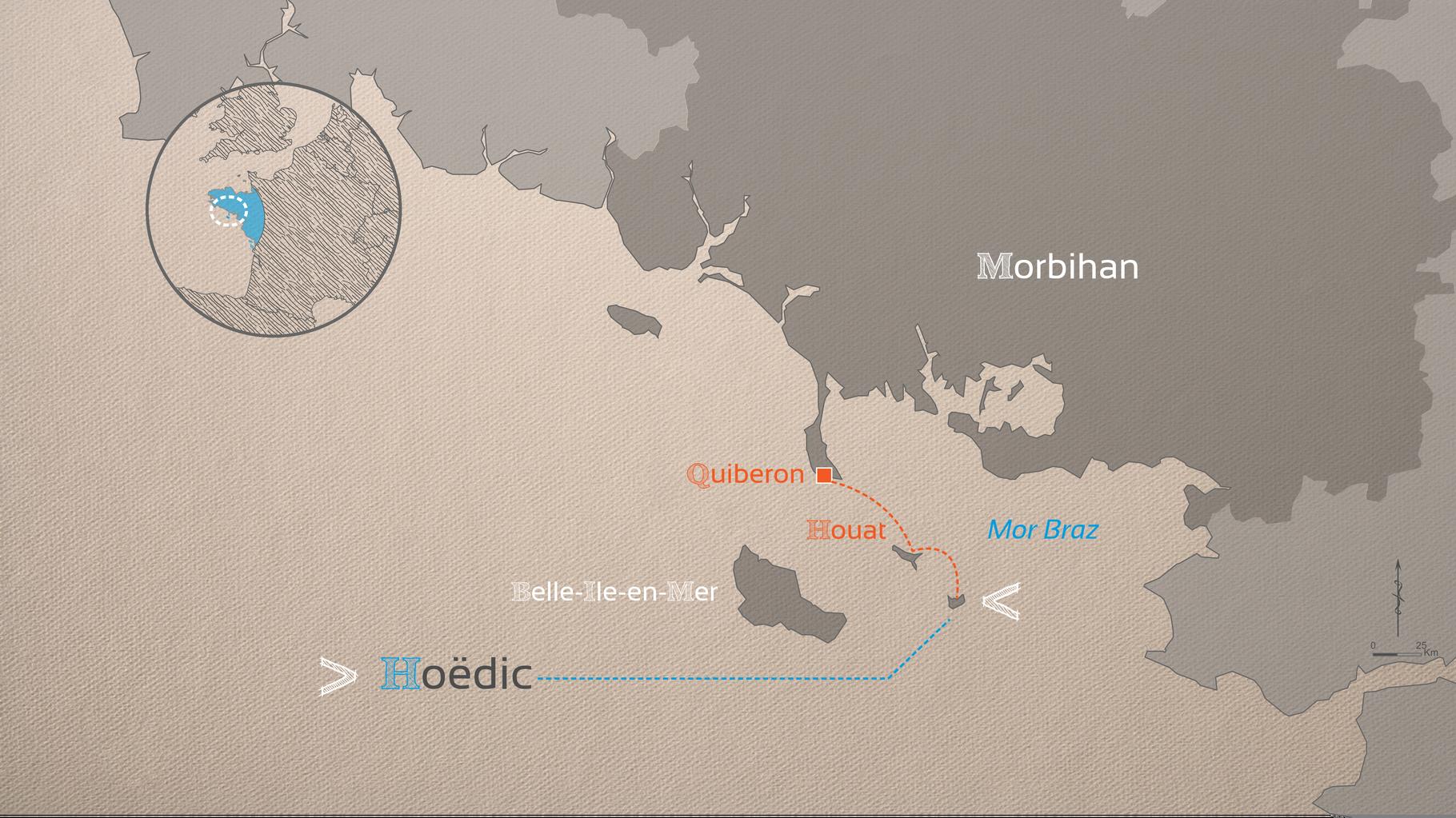 Au départ de Quiberon, il faut une heure pour se rendre à Hoëdic, après une escale à Houat