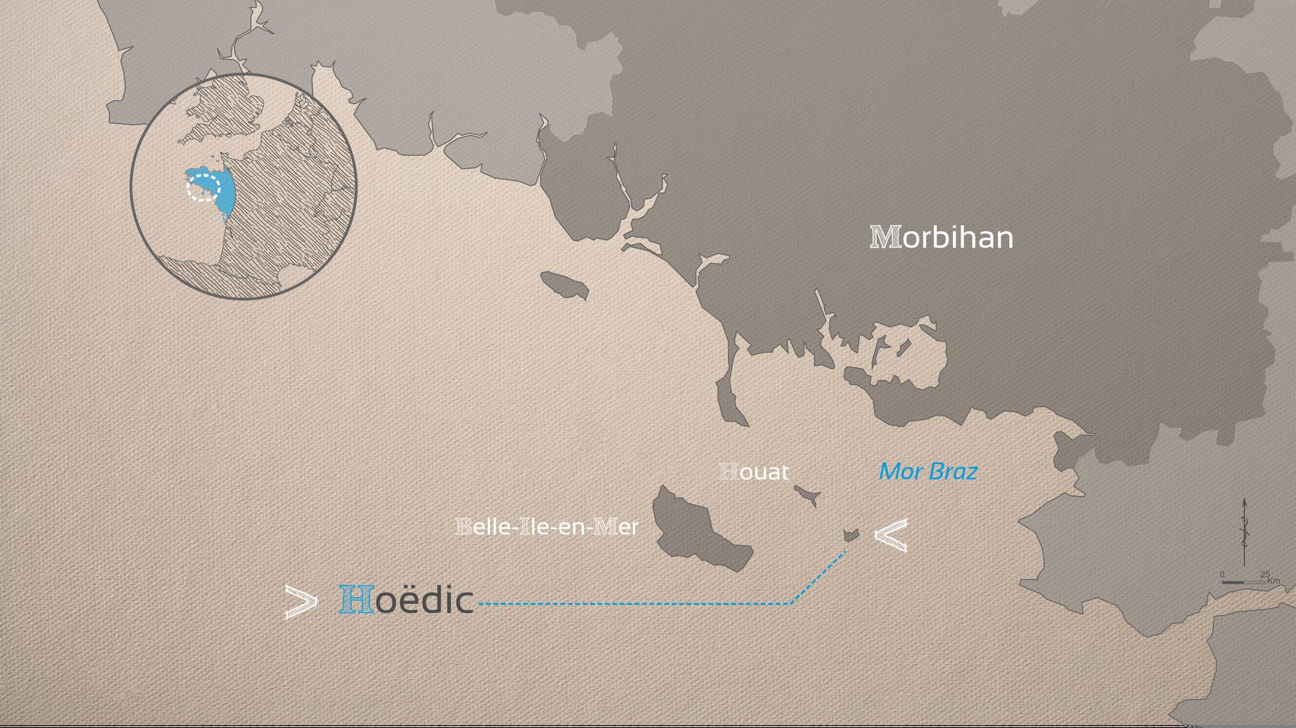Hoëdic se situe à l'Est des îles de Belle-Île-en-Mer et Houat