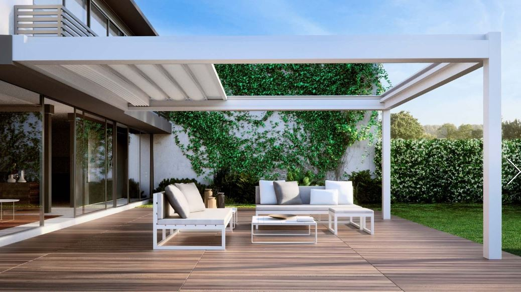 Pergola toile retractable lsk outdoor pergolas for Pergola bioclimatique retractable