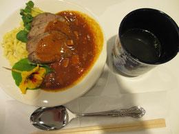 エゾシカ料理とスープのセット