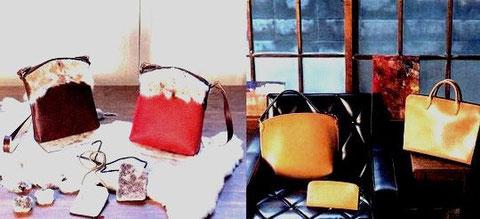 制作したバッグ類の写真