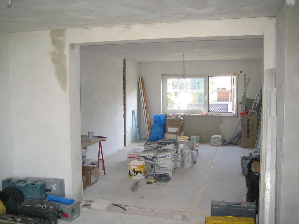 Blick ins Wohnzimmer während des Umbaus