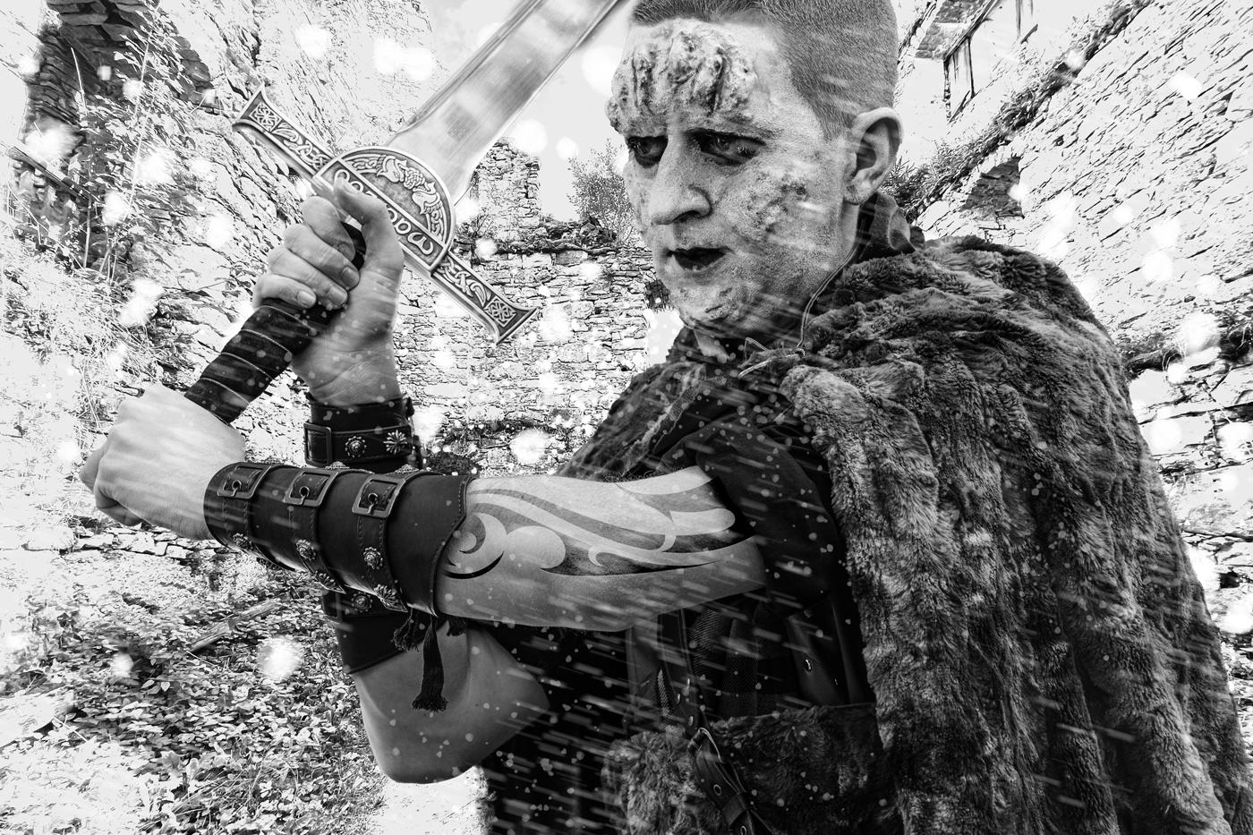 Ein Highlander auf Ruine Prandegg