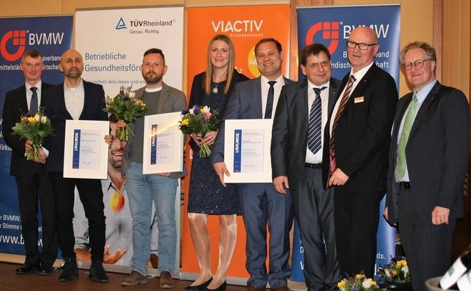 Rainer Junold (BVMW), Miro Germanotta (AIDA), Jan Wallochny (Gesundheitshaus Lebensfreude), Jessica Mendle & Nils Mendle (Ora Cura), Jörg Ehbrecht (BVMW), Werner Röpert (BVMW), Prof. Dr. Bodo Wiegand-Hoffmeister, v.l. , Foto: Manuela Kuhlmann
