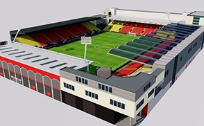 Vicarage Road Stadium - Watford London low-poly 3d model ready for Virtual Reality (VR), Augmented Reality (AR), games and other real-time apps.