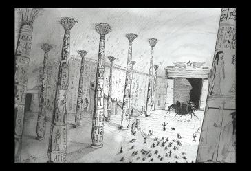 illustration égypte howard phillips lovecraft stylo aquarelle