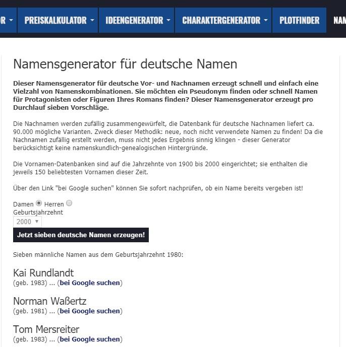 Pseudonym Generator Namensgenerator
