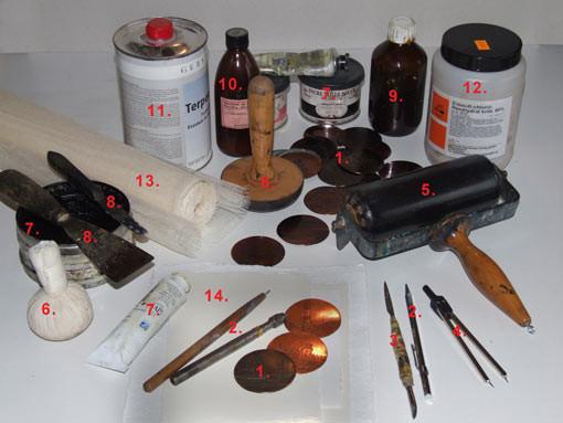 Radierwerkzeuge und Materialien