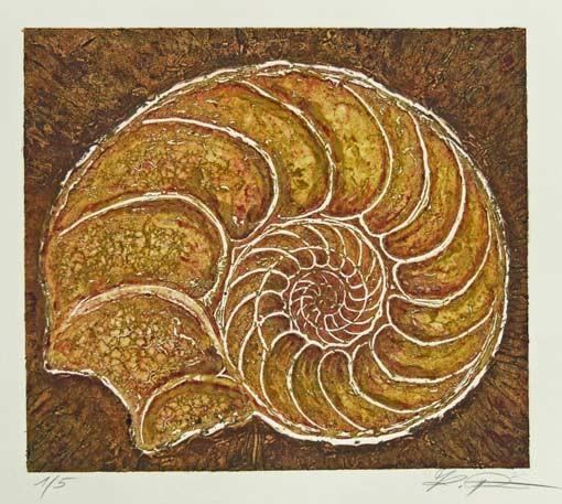 """Abzug der Carborundum-Radierung """"Ammonit 1"""", Mehrfarbendruck"""
