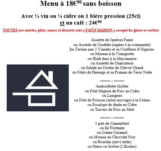 menu à 17,80 euros € oeufs durs maison crudités jambon fumé plats maison andouillette de Troyes grillée blanquette de veau escalope de dinde filet de poisson mousse au chocolat crème caramel bourdin glace