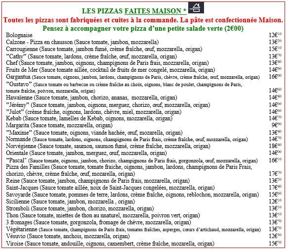 pizza faite maison sur place à la commande pizza bolognaise pizza carrougienne normande Hawaïenne sicilienne norvégienne pizza stromboli kebab chef reine gargantua fruits de mer Jérémy Maxime Julot Pascal Cathy margarita pizza des familles saumon