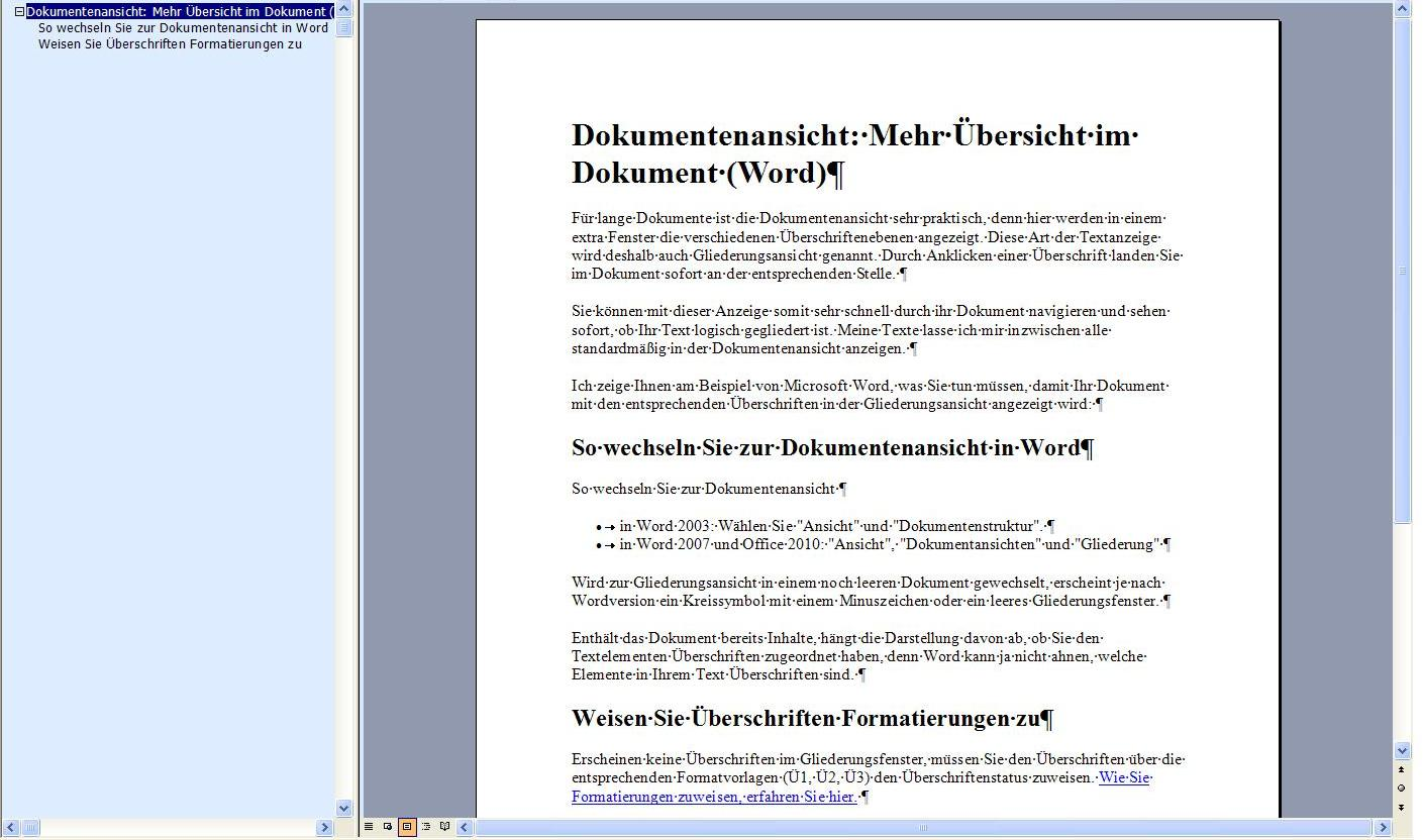 Dokumentenansicht: Mehr Übersicht im Dokument (Word) - Organisation ...