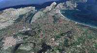 Vista aérea de la zona de Pollença. Imagen de Google Maps.