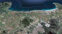 Vista aérea de la zona de Cala Millor. Imagen de Google Maps.