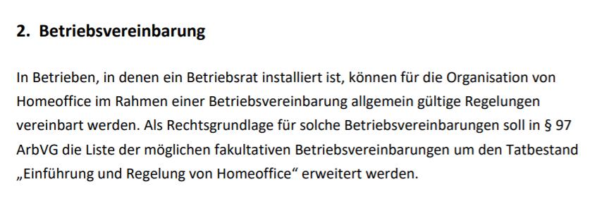Home-Office -- BV oder Einzelvereinbarung
