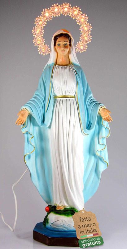 Statua Madonna Miracolosa illuminata