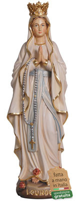 statua Madonna di Lourdes in legno con corona