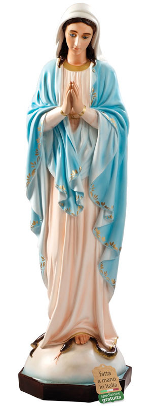 Statua Madonna Miracolosa mani giunte in resina