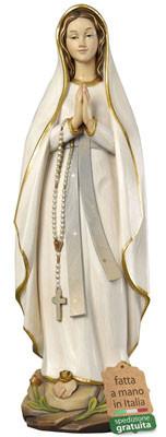 statua Madonna di Lourdes in legno stilizzata