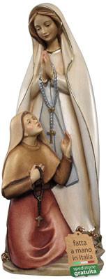 statua Madonna di Lourdes in legno con Bernadette