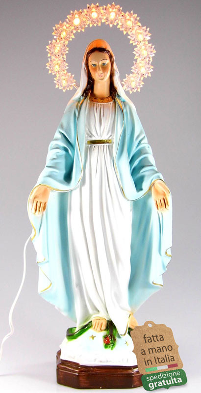 Statua Madonna Immacolata con corona illuminata