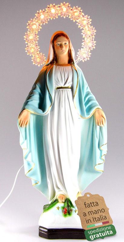 Statua Madonna Immacolata con aureola illuminata