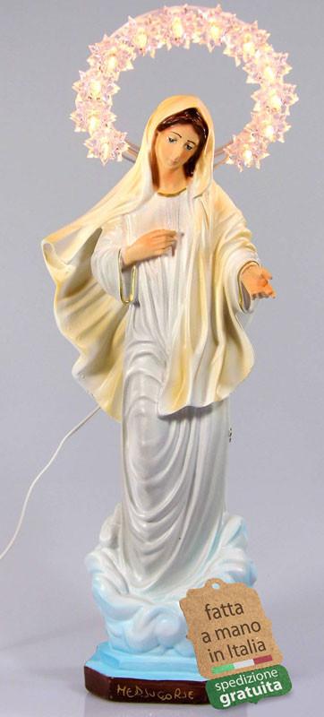 Statua Madonna di Medjugorje aureola illuminata