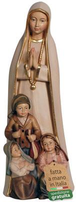 statua Madonna di Fatima in legno con pastorelli