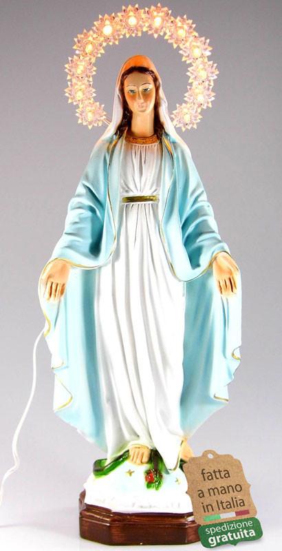 statua Madonna Miracolosa con corona illuminata