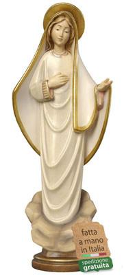 statua Madonna di Medjugorje in legno stilizzata
