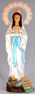 statua Madonna di Lourdes con aureola illuminata