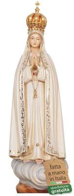 statua Madonna di Fatima in legno con corona