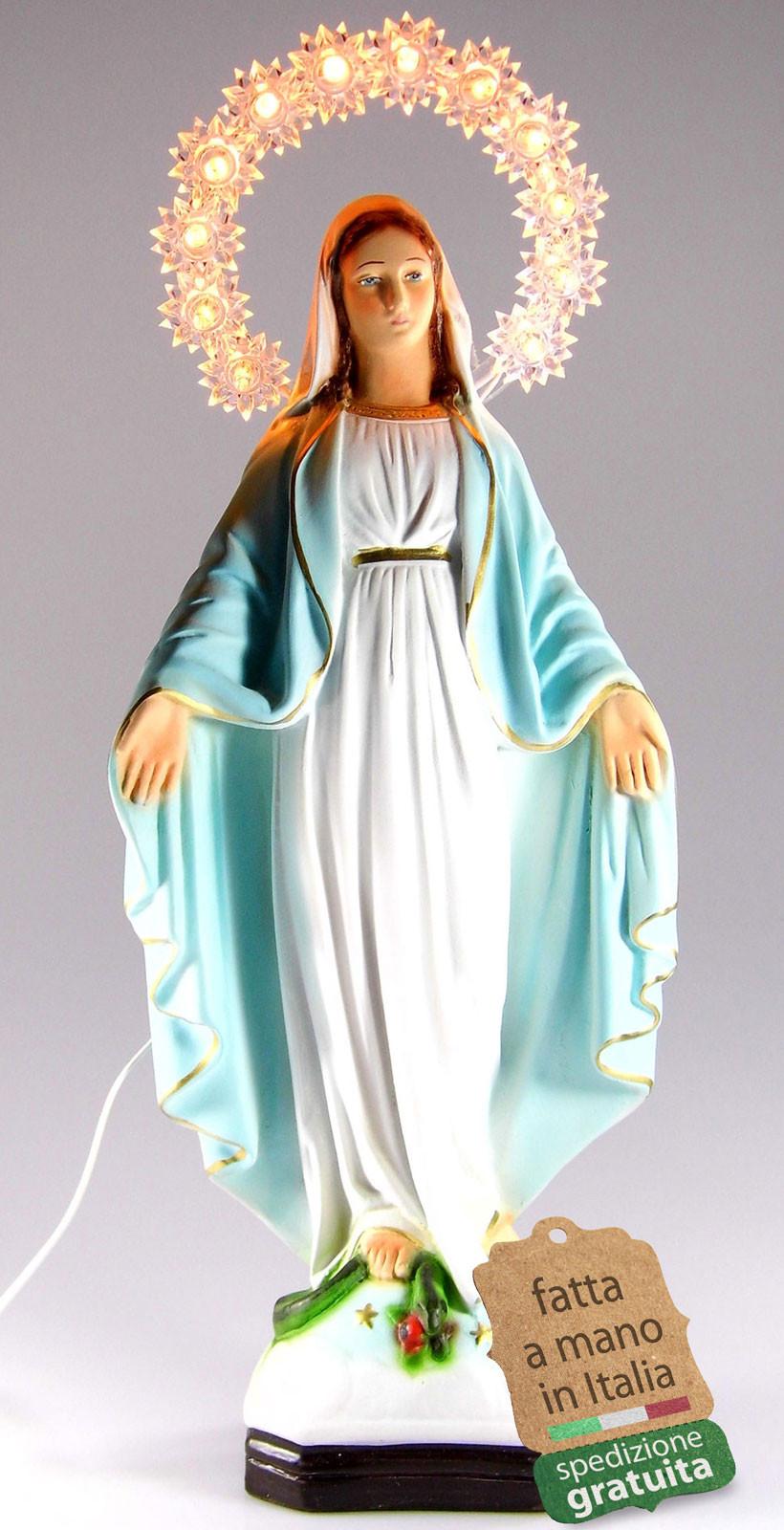 statua Madonna Miracolosa con aureola illuminata
