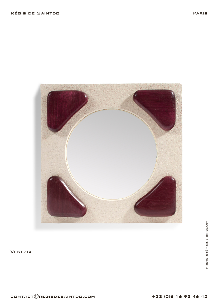 Mirror Venezia-white rough ceramic-sculpted and polished amaranth wood-handmade
