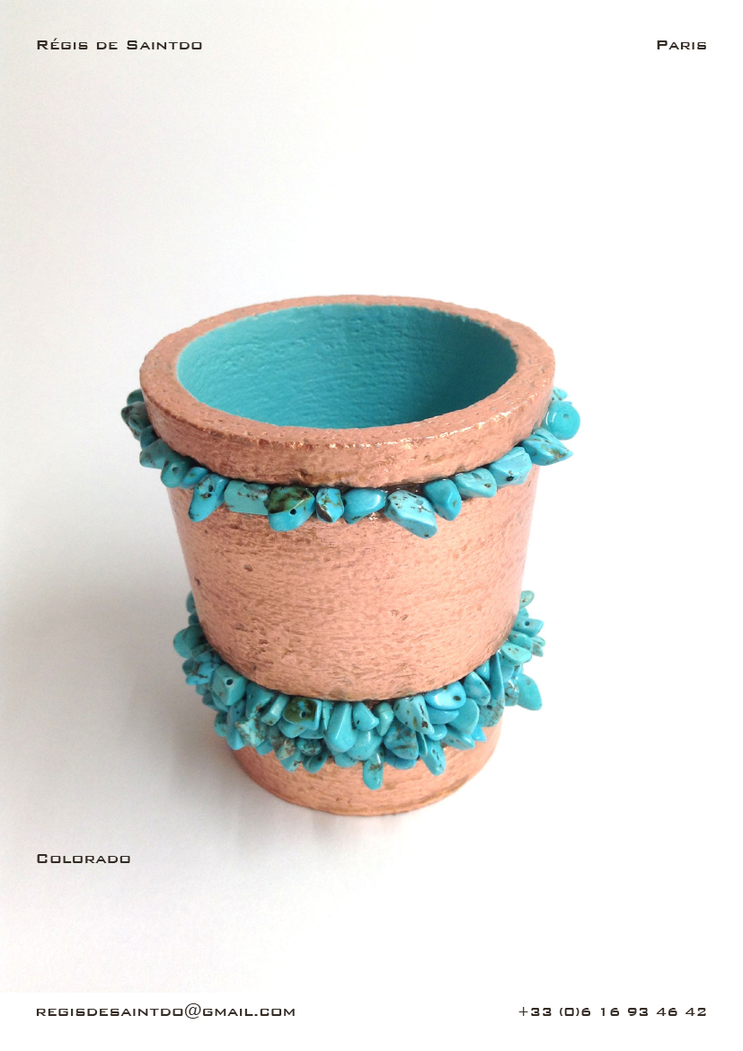 Pot-ceramic-copper leaves-turquoise howlite-Handmade