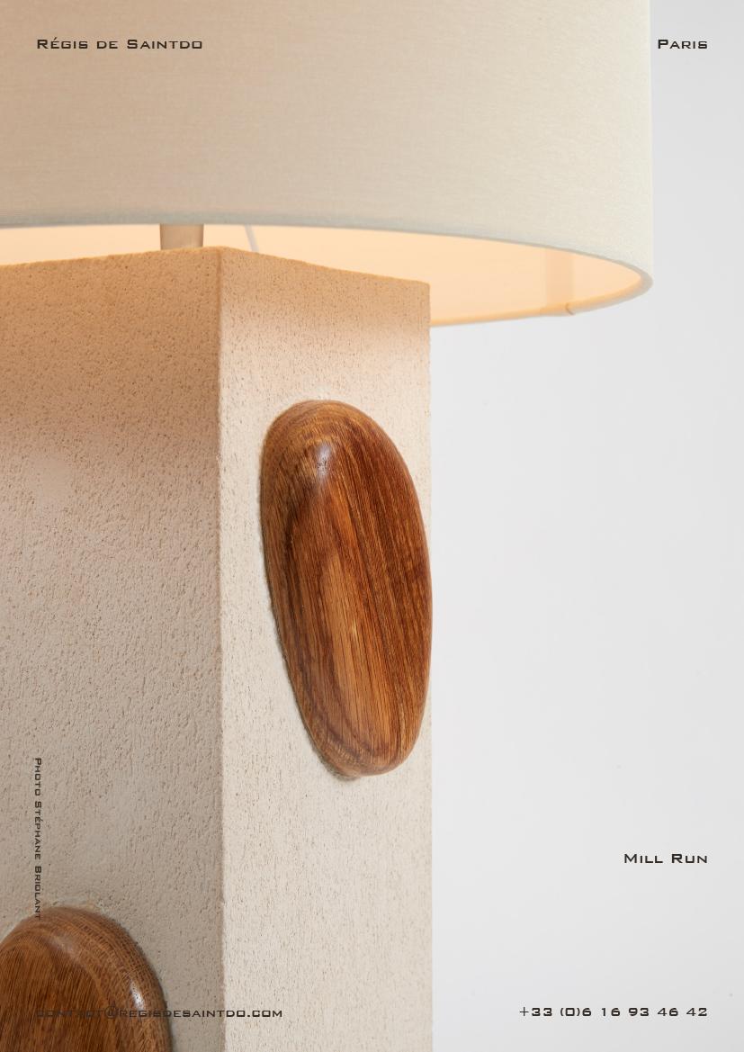 Lamp Mill Run-white rough ceramic-sculpted polished oak wood-handmade
