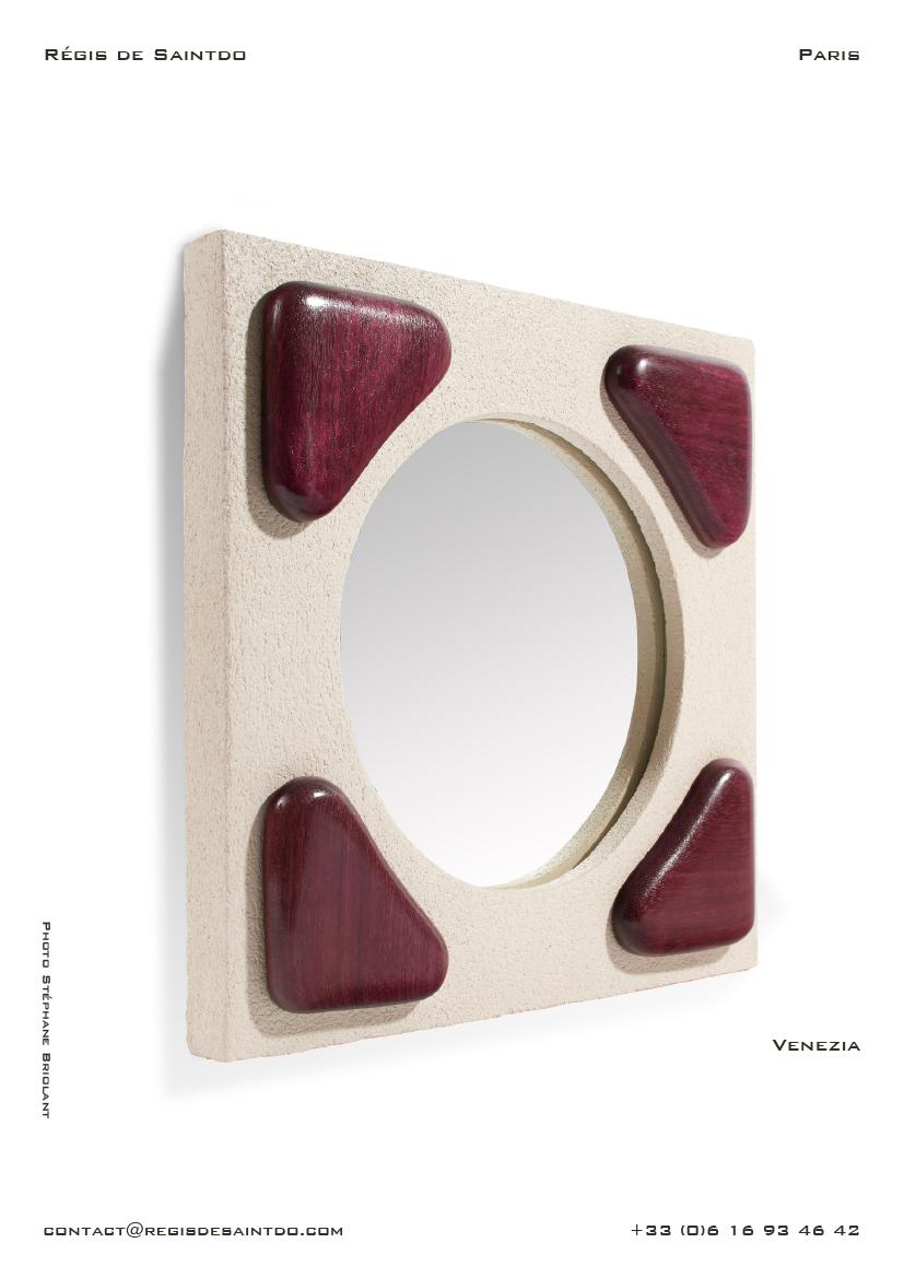 Miroir Venezia en céramique et bois d'amarante poli-fait main