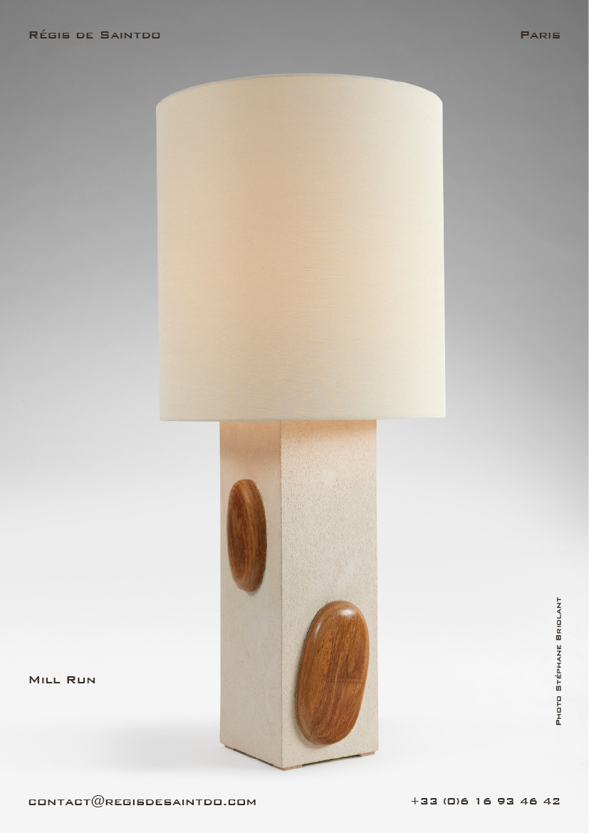 Lamp Mill Run-white rough ceramic-sculpted polished oak wood-handmade