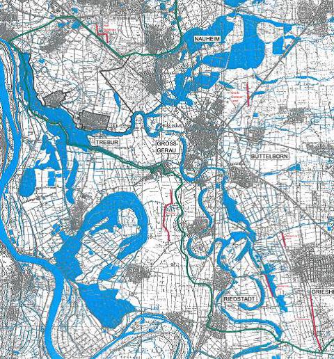 Karte mit überschwemmten Flächen Frühjahr 2001